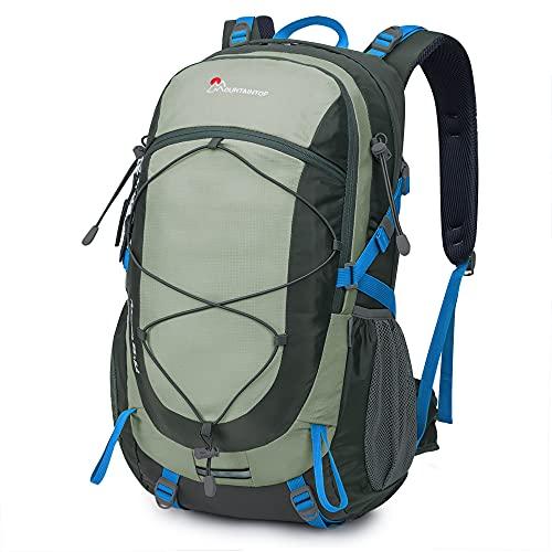 MOUNTAINTOP Mochilas Senderismo 40 litros, Portátil Mochila Trekking Impermeable, Mochilas de Montaña Hombre Mujer para Viajes Acampadas al Aire Libre (Gris)