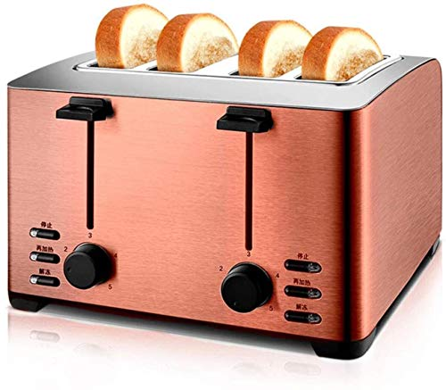 HZWLF Stainless Steel Toaster, 4 Slice Automatic Bake Defrost Reheat Cancel Function Extra Wide Slot Toaster Oven For Breakfast Kitchen Bread Sandwich,Brass
