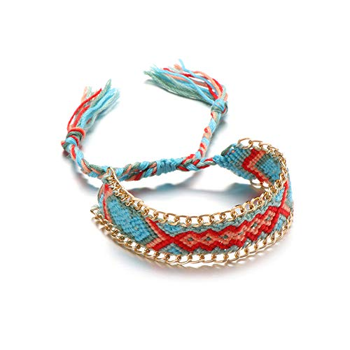 Women Friendship Cloth Cord Multicolor Boho Ethnic String Braided Bracelet Handmade Woven Anklet(9)