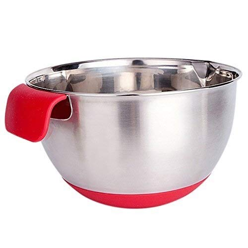 YUXIwang Bowl Silicone deal with stainless-steel non-slip scale mixing bowl salad bowl
