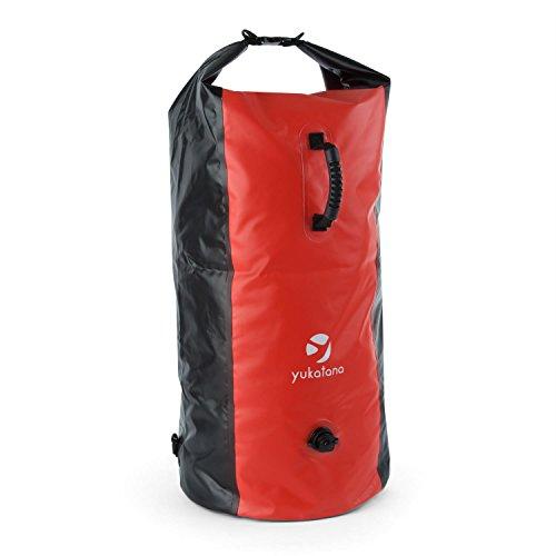 Yukatana Quintono 100 - Seesack, Packsack, Rollbeutel, Trekking-Rucksack, Travel-Reiserucksack, 100 Liter, 2 Tragegurte, wasserdicht, Wickelverschluss, Clip-Schnalle, rot-schwarz