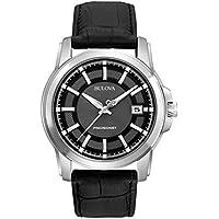 Bulova 96B158 Mens Stainless Steel Black Leather Strap Precisionist Watch