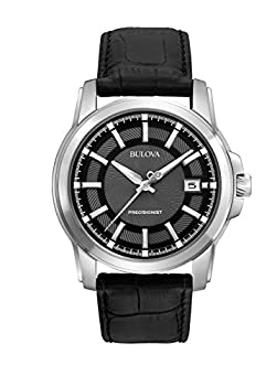 Bulova Precisionist Men s Watch Stainless Steel with Black Leather Strap Silver-Tone  Model  96B158