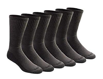 Dickies Men's Big and Tall Multi-Pack Dri-tech Moisture Control Crew Socks, Charcoal (6 Pairs), Shoe Size: 12-15
