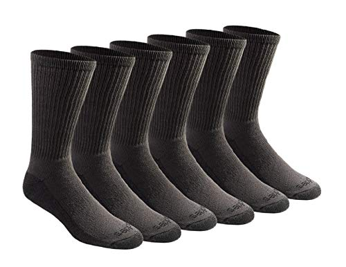 Dickies Men's Multi-Pack Dri-Tech Moisture Control Crew Socks, Charcoal (6 Pair), Shoe Size: 6-12