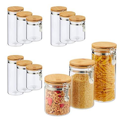 Relaxdays 12 x Vorratsglas, Volumen 1,5l, 1l, 750ml, Glas & Bambus, Bügelgläser für Küche, luftdicht, für Pasta Müsli, transparent