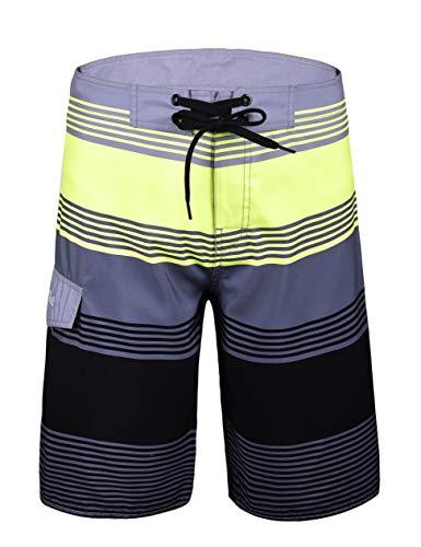 Nonwe Men's Beach Shorts Swim Trunks Swimwear Shorts Beach Pants Board Shorts Grey Stripes 28