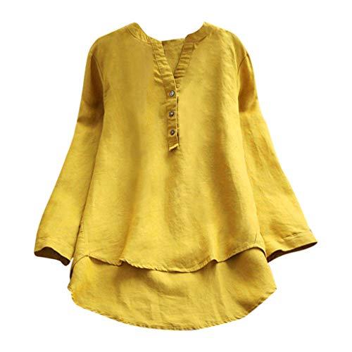 KUDICO Damen Tops Retro Plus Size Button Leinen lässige langärmelloses Hemd T-Shirt Bluse Nach Oben, Angebote!(Gelb, EU-38/CN-L)