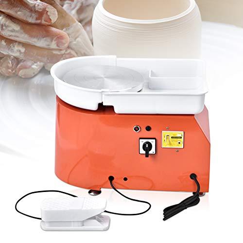 HUKOER Rueda de cerámica eléctrica naranja, máquina formadora de ruedas de cerámica 350W 25CM con pedales y lavabo desmontable, con 8 piezas de juego de cuchillos de arcilla (certificado CE)