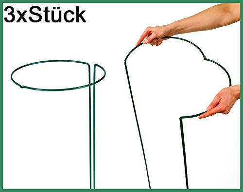 Novatool 3X Strauchstütze verstellbar | halbrund grün 55 cm | Staudenhalter Blumenhalter Rankengewächs Buschstütze Pflanzenstütze Blumenstütze Staudenstütze Rankhilfe Strauchhalter Rosenstütze