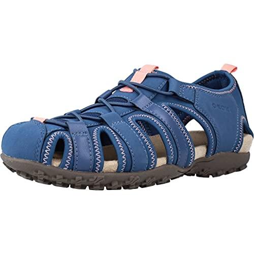 Geox D7125U Donna Sportliche Damen Sandale, Trekking Sandale, Outdoorsandale, Funktionssandale mit Gummizugverschluss und geschlossener Zehenkappe Blau (Denim), EU 39