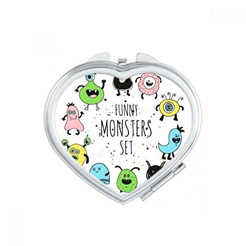 DIYthinker Univers et Alien Monstre Ensemble Coeur Maquillage Compact Miroir de Poche Portable Mignon Petit Miroirs Main Cadeau