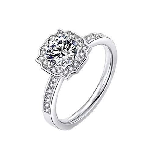 Anillo de compromiso de plata de ley con diamantes Moissan de 1 quilate para mujer