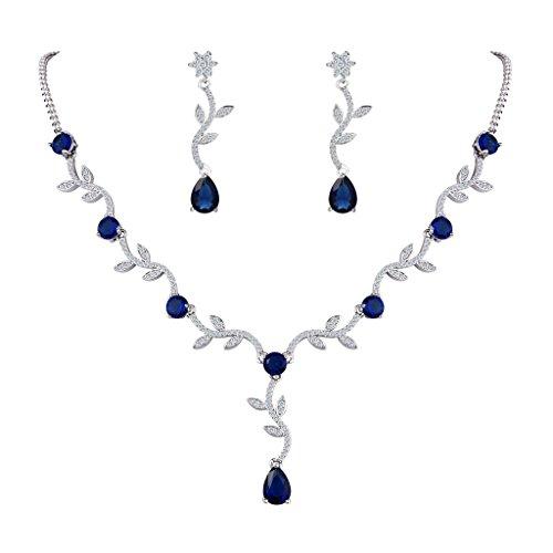 FANZE Parure di gioielli Donna Zirconia cubica Elegante Girasole foglie Vite lacrima Nuziale Pendente Collana Ciondolano Orecchini Gioielli Set Blu