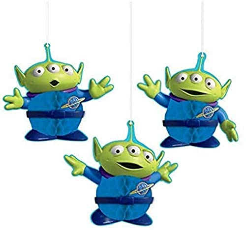 AmscanToy Story 4 Green and Blue Aliens Honeycomb Party Decorations, 3 Ct, 290129