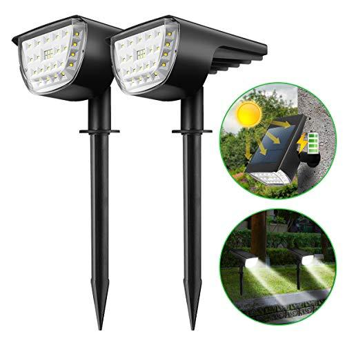 KINGSO Solarleuchten für außen garten 32 LEDs solarlampe garten Licht-Sensorik Solarleuchte, Gartenbeleuchtung solar Außenwandleuchte IP65 Wasserdicht 6000K Kaltweiß Solarstrahler Solarlicht 2er Pack