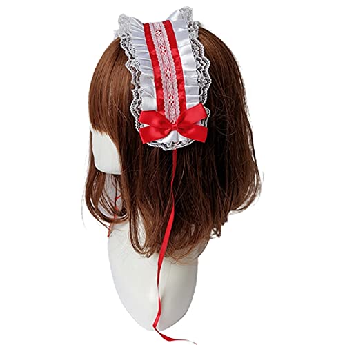 Sweet Lolita Ruffle Lace Wide Headband Maid Cosplay Headwear Ribbon Bow Hairband Maid Anime Cosplay Headwear