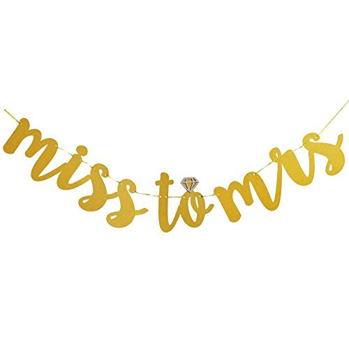 Miss to Mrs Banner, Messar Gold Glittery Hanging Bunting Banner Garland for Bridal Shower, Wedding Party and Bachelorette Party Decoration Supplies - 3M