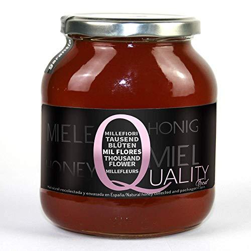 Miel pura de abeja 100{ab1a617ab1806dec717243a706c4589f632ba93666b9464b84328937df5b3428}. Miel cruda de Mil Flores. 1 Kg. Producida en España. Sin pasteurizar ni calentar. Artesana de alta calidad. Tarro de cristal. Gran variedad de exquisitos sabores.