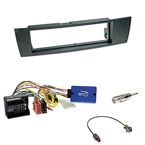 Einbauset:1-DIN Blende/Radioblende Abdeckung - schwarz +Kenwood Radio LFB Lenkrad Interface Radio Adapter für BMW 1er (E87) von 08/2004-02/2007 4/5-türer