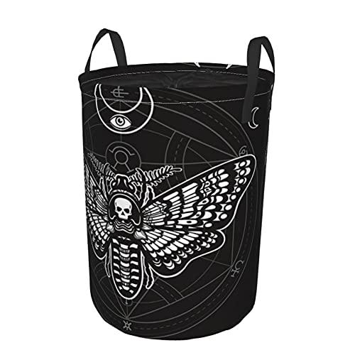Cesto de lavandería redondo, cabeza muerta de polilla, círculo místico, símbolo esotérico, geometría sagrada, cordón, cesto de lavandería plegable, impermeable,21.6'X16.5'