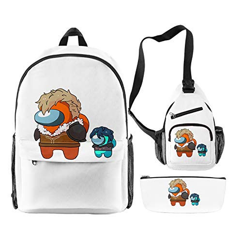 EGCLJ Among Us Game Backpack Messenger Bag With Pencil Case, Children Kids Cartoon School Bag For Boys Girls School Gift 3 Pieces Set (Color : E)