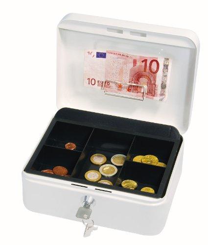 Wedo 145200H Geldkassette (aus pulverbeschichtetem Stahl, versenkbarer Griff, Geldnoten- und Belegeklammer, 5-Fächer-Münzeinsatz, Sicherheits-Zylinderschloss, 20 x 16 x 9 cm) weiß