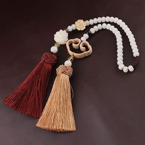 JONJUMP Colgante de borla de seda de hielo clásico Bodhi tallada flor de loto para meditación espiritual colgante decoración del hogar