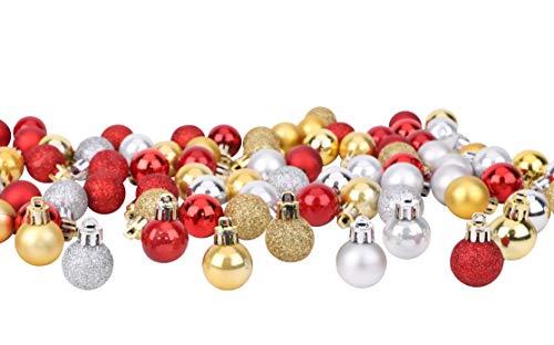 Toyland® Set mit 96 Mini-Weihnachtskugeln, 32 rote, 32 Silberne und 32 goldene Kugeln, 2,5 cm (25 mm)