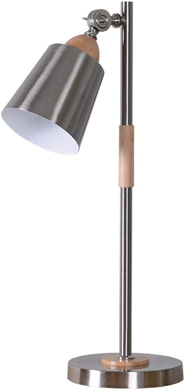 Lampe Tischlampe Massivholz LED Augenschutz Nachttischlampe, chrom