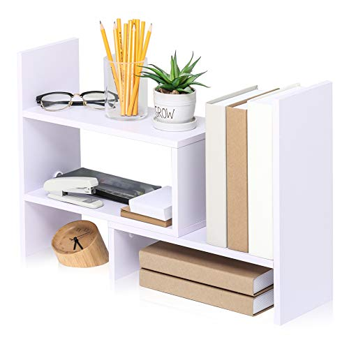 EONO Bücherregal Schreibtisch Organizer DIY Bücherregal Desktop Regal Weiß Holz für Büro und Zuhause 72.4x17x39cm EDT207002WW