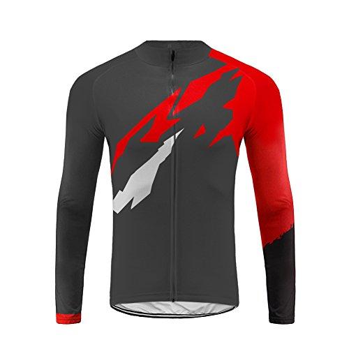 Uglyfrog Herren Winter Langarm Radtrikot Fahrradtrikot Radshirt Fahrradshirts Fahrradbekleidung für Männer mit Elastische Fleece Warm Schnell Trocknen Stoff
