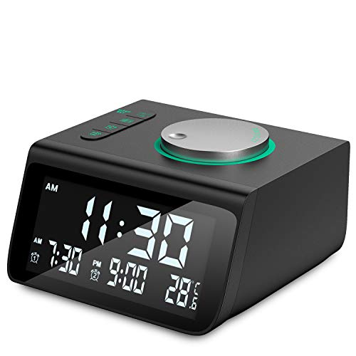 Digital Alarm Clock, Dekala Small Alarm Clocks Radio, with FM Radio, Dual Alarm, Dual USB Charging Ports, Battery Backup for Bedroom, Desk, Office