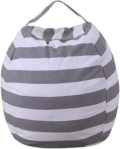 THEE Spielzeug Aufbewharungstasche Streife Sitzsack Aufbewahrung Beutel Lagerung,18 inch,Grau