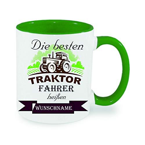 Crealuxe Tasse m. Wunschname Die besten Traktorfahrer heißen. Wunschname - Kaffeetasse mit Motiv, Bedruckte Tasse mit Sprüchen oder Bildern