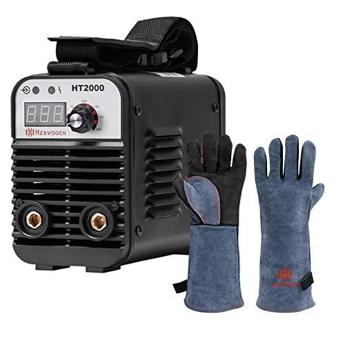 HZXVOGEN 110/220V MMA Welder Dual Volt Arc Stick Welding Machine & 16 Inches 932℉ Heat Fire Resistant Welding Gloves BBQ Grill Gloves for Arc Tig Mig Wood Stove Barking Oven Fireplace Welder Gloves –