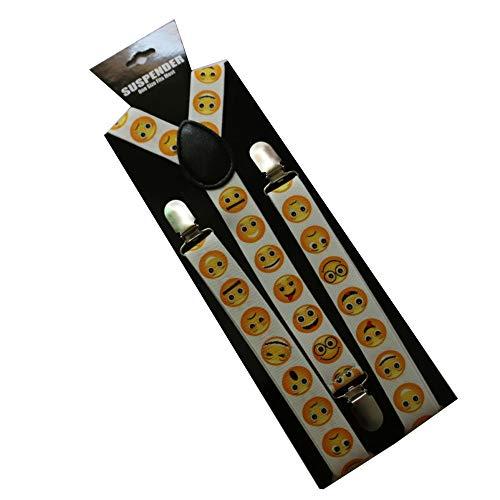 LLZGPZBD bretels voor volwassenen, 2,5 cm breed, lief emoticon tas, riemclip, modieus, wild elastisch, bretels
