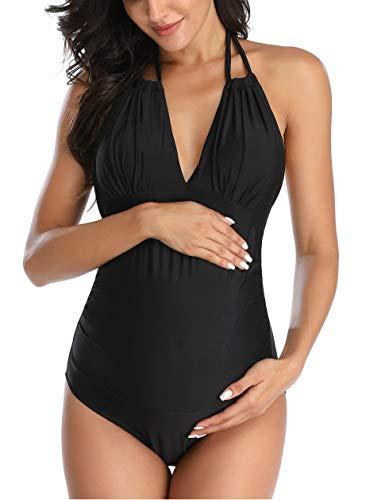 EastElegant Traje de baño de maternidad de una pieza con cuello en V para embarazo, bikini de maternidad halter - negro - X-Small