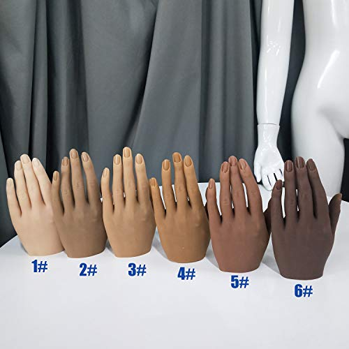 Practice Hand for Acrylic Nails 6 Colors Silicone Female Mannequin Life Size Hand with Insertable Nnails for Nail Art Beginners/Nail Salon Artists(18cm)