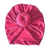 Turbante de bebé recién Nacido para niños, Diademas anudadas para la Cabeza, Sombreros, Gorro de Mezcla de algodón, Gorro para el Cabello, Banda para la Cabeza para niños y niñas-Hot Pink