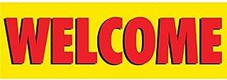 HALF PRICE BANNERS   Welcome Vinyl Banner -Indoor/Outdoor 4X12 Foot -Yellow   Includes Ball Bungees & Zip Ties   Easy Hang Sign-Made in USA