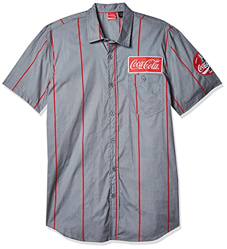Coca-Cola Men's Striped Button Up Work Shirt with Logo Patch,...