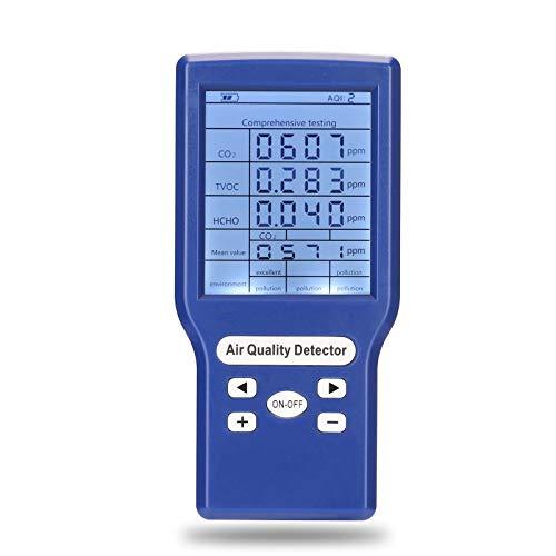 KKmoon Luftqualität Messgerät TVOC, HCHO, CO2, AQI Messgeräte Kohlendioxid Detektor Gasanalysator Portable Air Quality Tester
