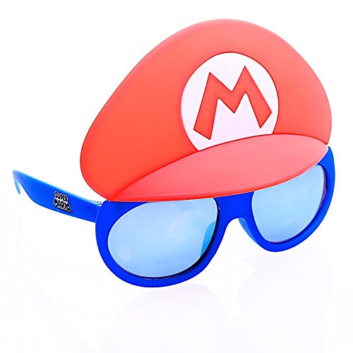 Sun-Staches Costume Sunglasses Lil' Characters Super Mario Blue Lens Party Favors UV400