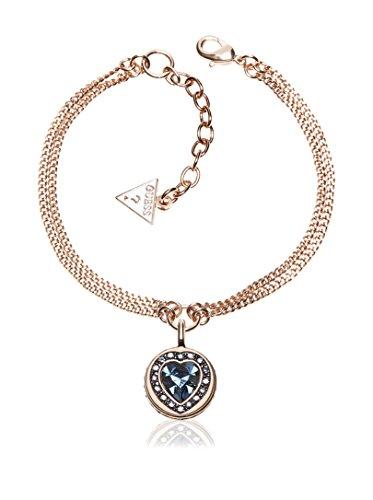 Guess Damen-Armband Herz Messing Glas blau 19.0 cm - UBB21537-S