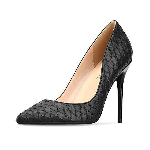 GOXEOU Damen Pumps Schlange Schuppen Muster Prägung Spitz Zeh Stiletto Absatz High Heels Kleid Pumpss Klassische Mode Schuhe Schwarz 10 cm Absatz - Größe: 34 EU