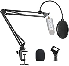 "Pipishell Microphone Suspension Scissor Boom Bracket Stand with Pop Filter and Mic Holder, 5/8""Screw for Blue Yeti, Snowball, Spark, Yeti x and All Other Microphones"