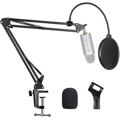 """Pipishell Microphone Suspension Scissor Boom Arm Stand with Pop Filter and Mic Holder, 5/8""""Screw for Blue Yeti, Snowball, Spark, Yeti x and All Other Microphones"""