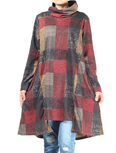 Mordenmiss Women's Checked Plaid Tunic Tops Turtleneck Shirt Dress with Pockets (XXL Gray)