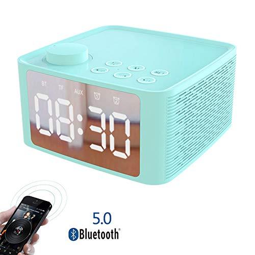 Speaker-EJOYDUTY Bluetooth 5.0 stereo luidspreker met FM-radio, beweegbare draadloze luidspreker met LED-display, wekker, radio, groot geluid, 8 uur speeltijd